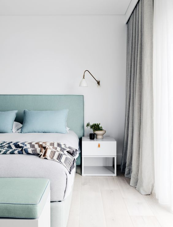 pastels are another cool and fresh idea to add color, and mint and aqua like here refreshes the space