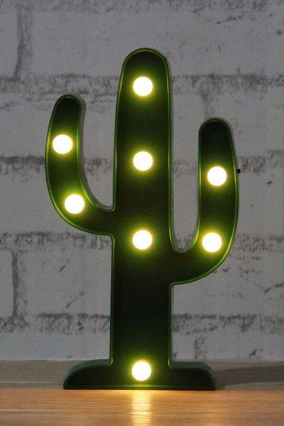 a cactus LED light is easy to make or to buy and you may add a whimsy touch to the space