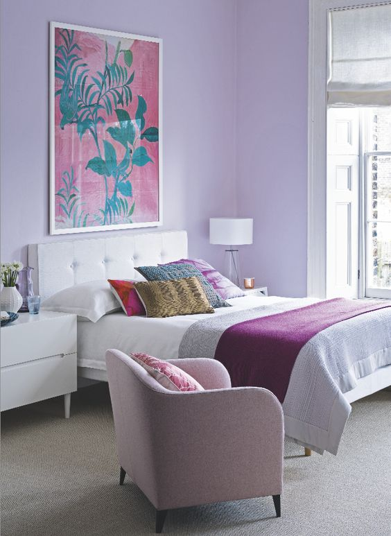 a lilac bedroom is a veyr relaxing space and it isn't cold like a blue one