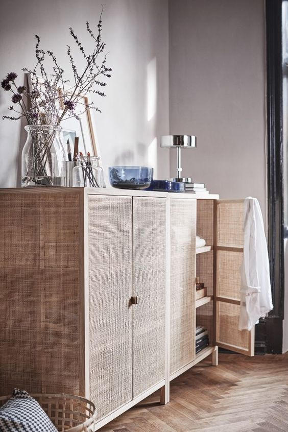 IKEA Stockholm cabinet made of rattan wood lattice is a gorgeous idea for a relaxed summer feel