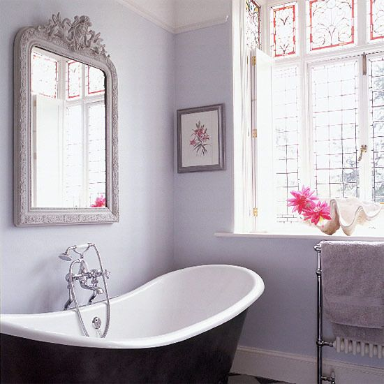 achieve a relaxing and calming feel in your bathroom painting the walls lilac