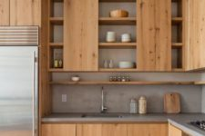 stylish kitchen with wood and concrete textures