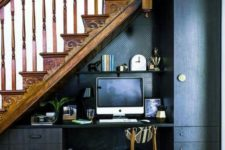 22 an elegant masculine workspace with a built-in desk, a tall cabinet and a shelf for storage