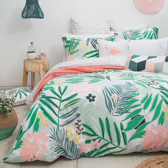 make your bedroom more colorful and vivacious with printed botanical and floral bedding