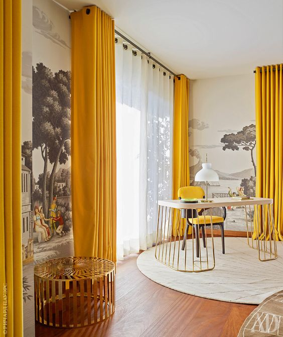 fill your space with sunlight and turn on good vibes with bright yellow curtains