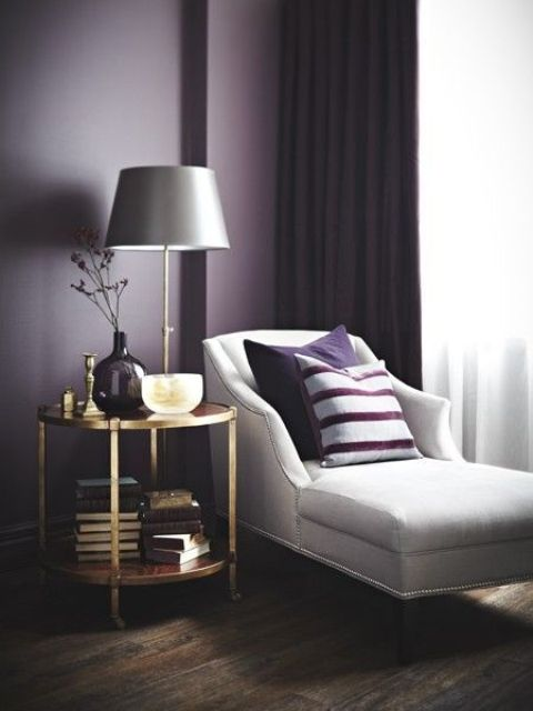 if you are going dark purples, add something shiny and light-colored for harmony