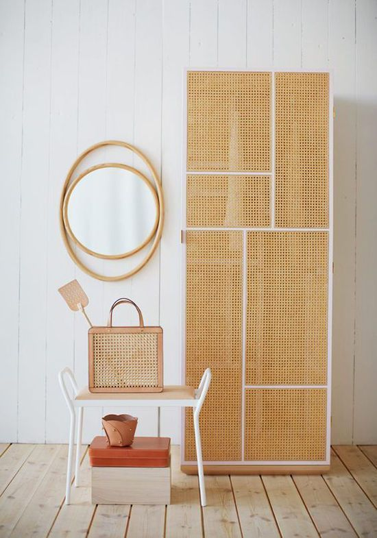 rock a wood lattice cabinet in the entryway to give it an airy look and declutter the space
