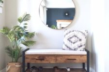 rustic looking bench for an entryway