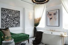 24 if you have enough space, place an emerald upholstered couch to create a luxurious and jaw-dropping look
