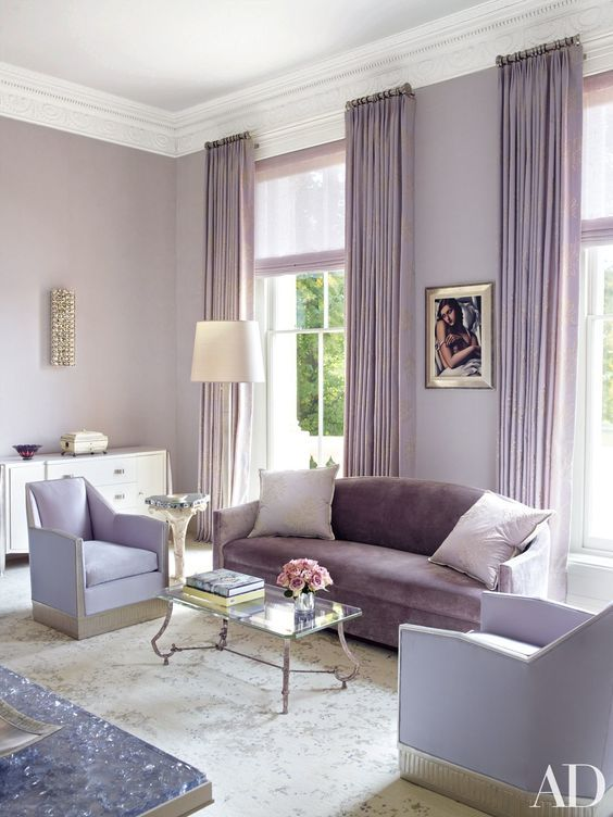 if you want calming and relaxing vibes, go for lighter shades of purple and violet