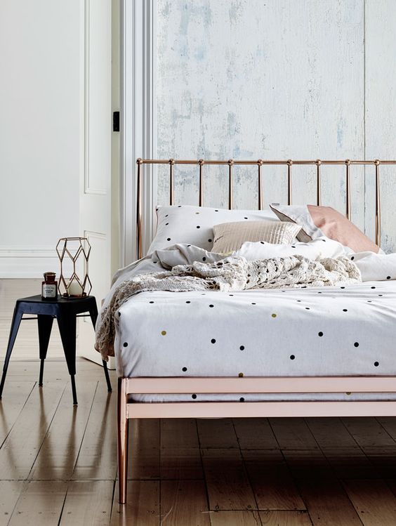 spruce up the sleeping space with a touch of print like here - polka dots on the bedding