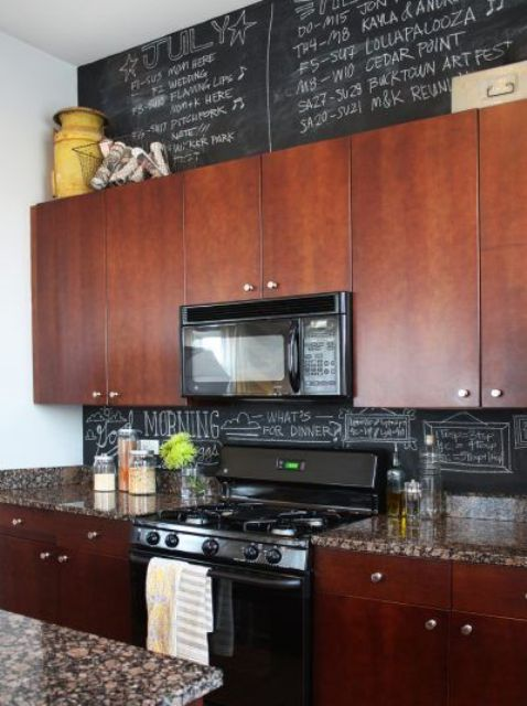 turn your chalkboard backsplash into an artwork chalking everything you want on it