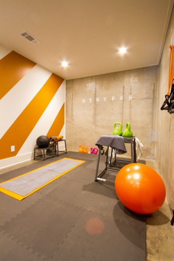 go for orange in your exercise room, as the color is very energetic and bright
