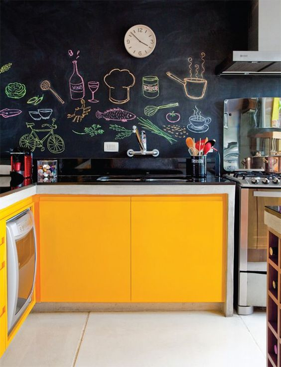 turn your chalkboard backsplash into your own artwork chalking various food and drinks on it