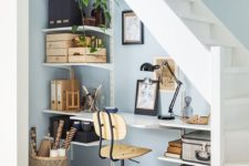 26 storage is greatly organized here with wall-mounted shelves on both sides, which is great