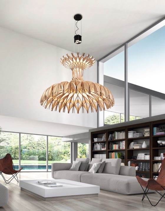 Dome light sculpture is handmade of wooden pieces and will easily make a statement in any space with its design
