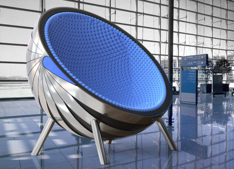 Galaktika is an ultra modern chair prototype, which was intended for airports but can be used in private spaces, too