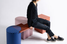 01 Grid Benches are created for both indoors and outdoors, for public and private spaces and come in various bold colors