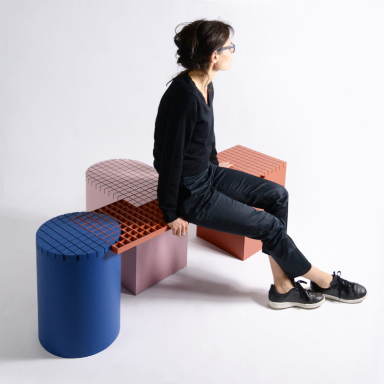 Colorful Urban Grid Inspired Benches