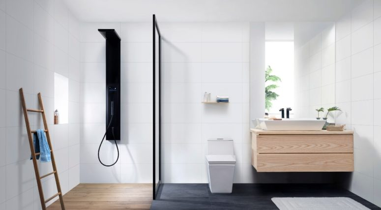 Skive is a minimalist bathroom collection, which features laconic geometric designs with a Scandinavian feel