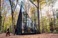 01 This tiny cabin in the woods features a unique crystal shape and is ideal for a weekend or a holiday