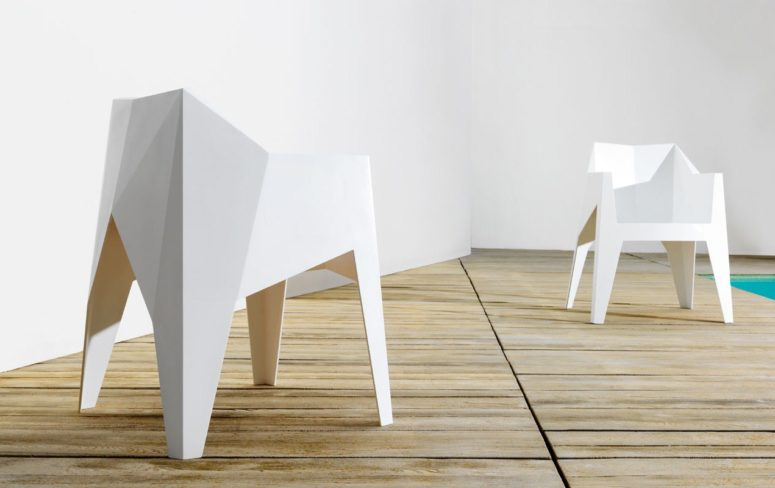 Minimalist Faceted Voxel Chair By Karim Rashid