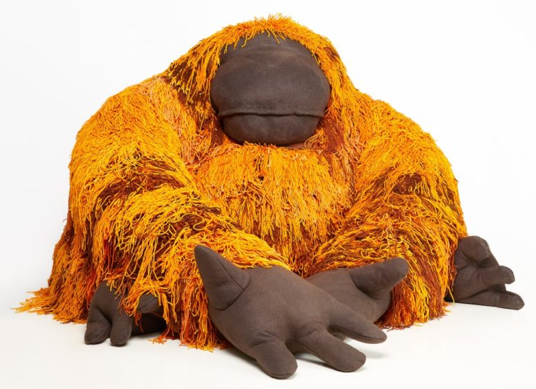 Orangutan is a very bold piece in orange and brown