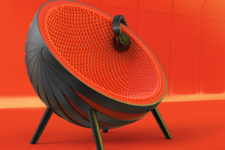 02 The design is bold and eye-catchy, it's a comfy sphere for sitting inside