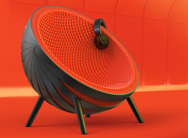 The design is bold and eye-catchy, it's a comfy sphere for sitting inside