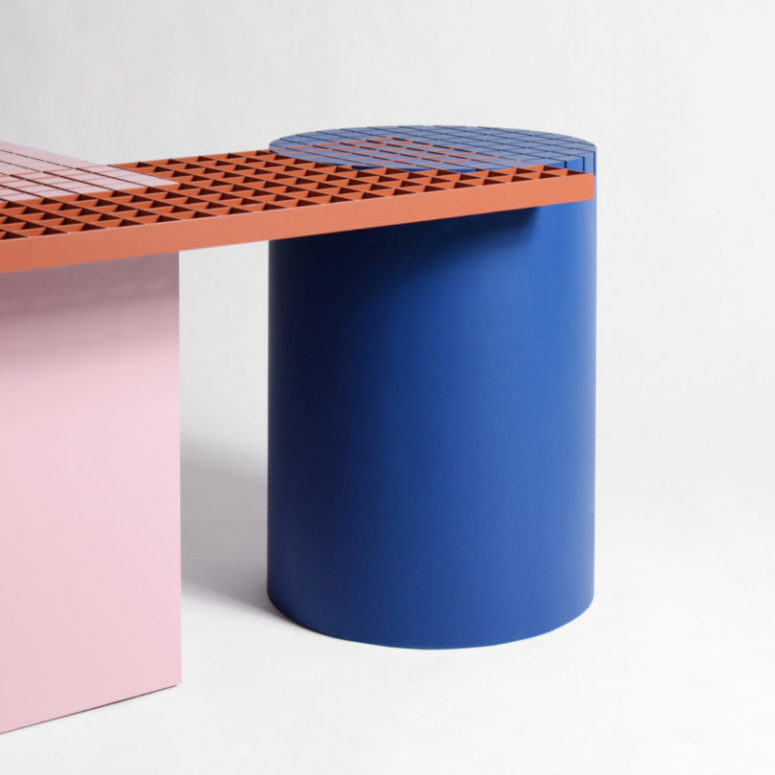 The legs of the benches are stable and solid and the top features grid