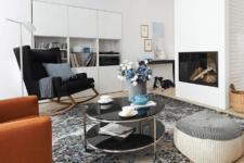built-in shelves in a living room