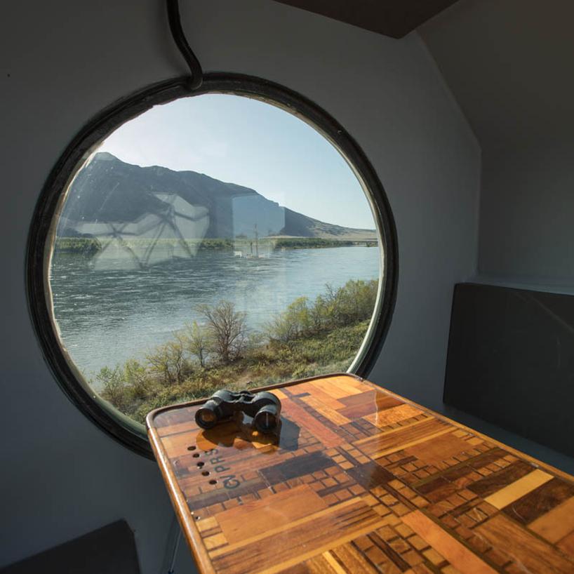 geometric dining space by an illuminator