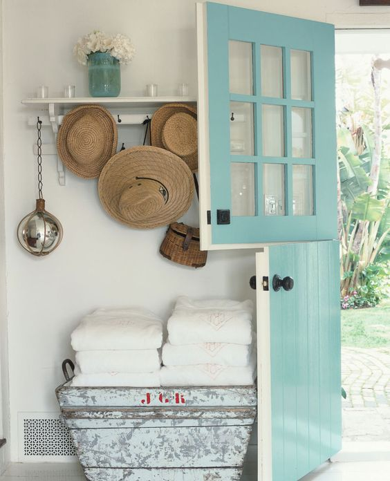 a beautiful mint blue Dutch door is great for a farmhouse or beach cottage