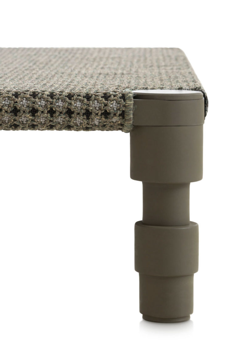 The pieces are available in grey, dark green and terracotta and the woven textiles are matching