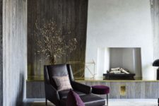 living room with brass decor tourches