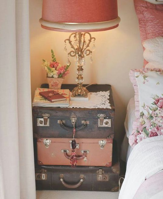 a stack of vintage suitcases is ideal for a shabby chic or just girlish bedroom