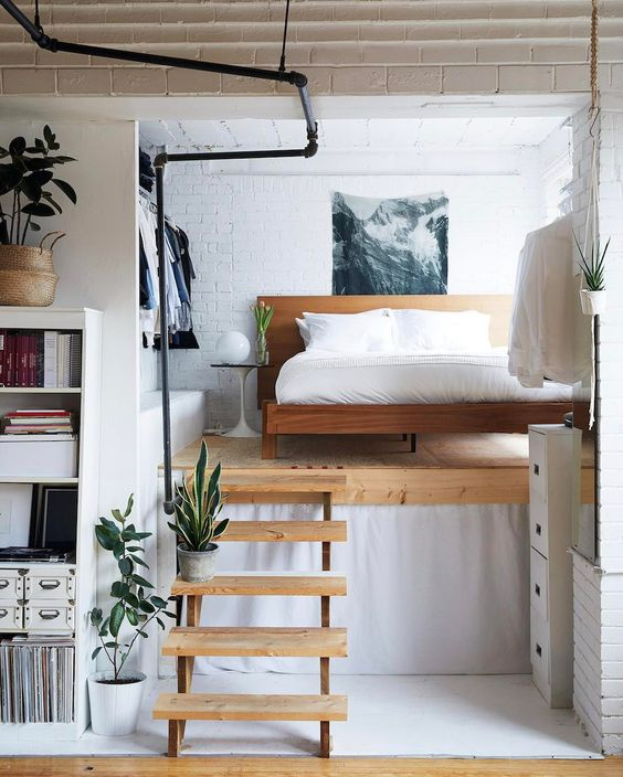 create a sublevel for your bedroom space if the ceilings are high, this is also a good idea