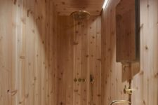 stylish all wood bathroom design