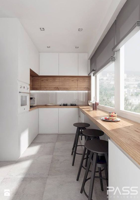 a long windowsill for breakfast and just having meals with a view is a great modern idea