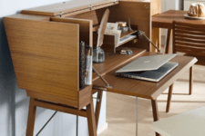 vintage office space right in a living room