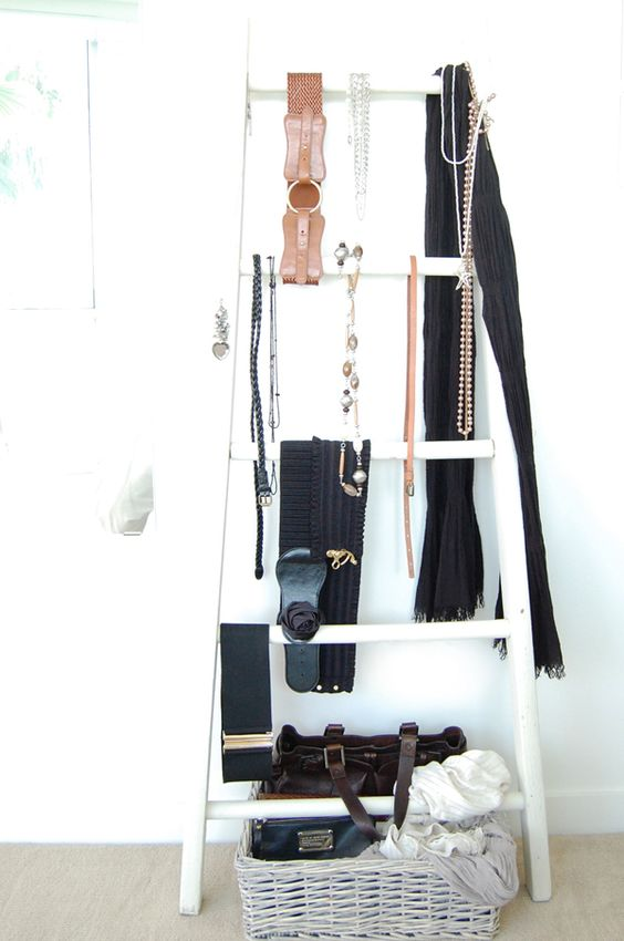 a ladder can be also used as a storage piece for various types of accessories