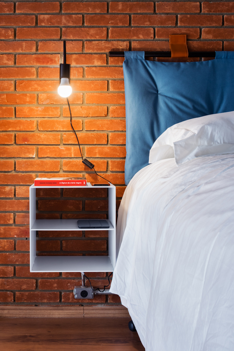 The nightstands are floating ones, with open storage, right enough for the owner's stuff