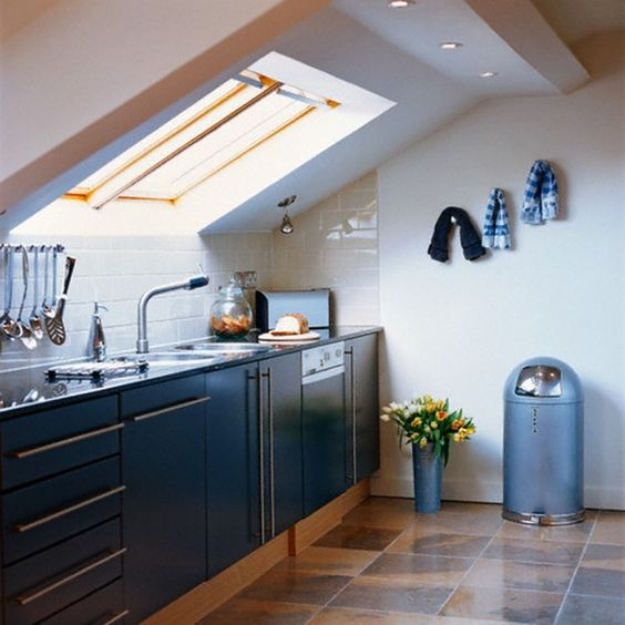a contemporary space with a skylight and additional lights and cabinets fitted under the skylight
