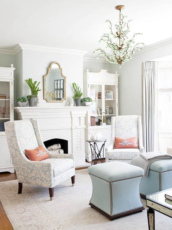 a soft interior infused with touches of powder blue and muted coral