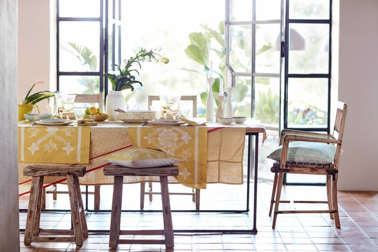 Dress up your table with muted or bright items with summer prints