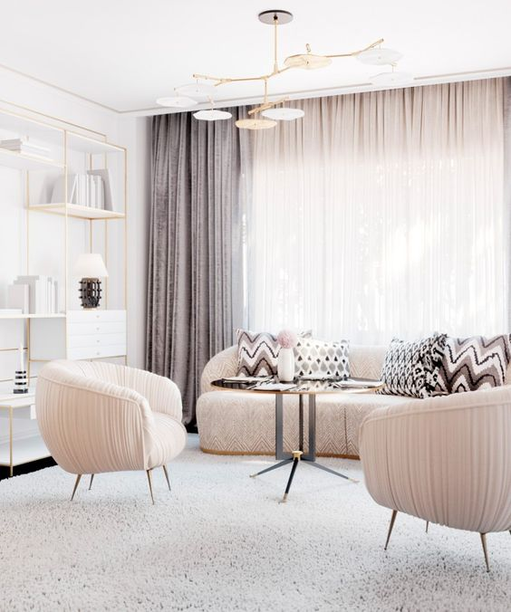 blush furniture and lilac grey draperies make the space more eye-catchy
