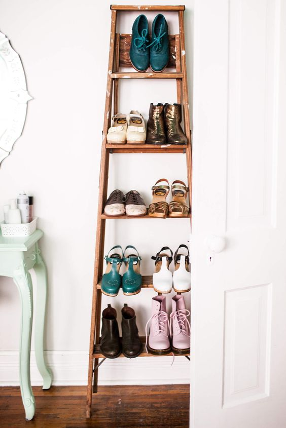 sometimes a vintage ladder with shoes changes the whole look of the room and doesn't require any repainting or changing