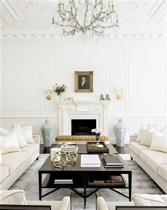 a luxurious space with touches of vintage and creamy furniture for sophistication