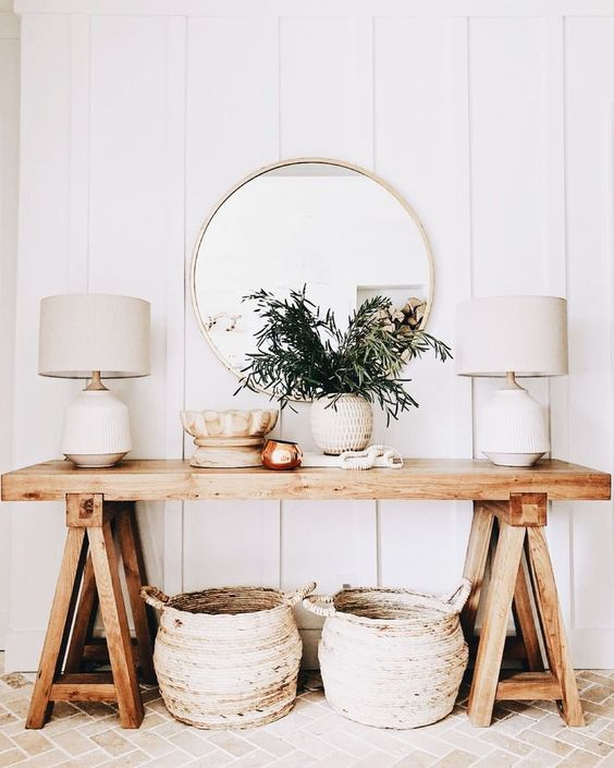 some baskets for storage are a nice and very beach-like idea, besides, they can be used everywhere