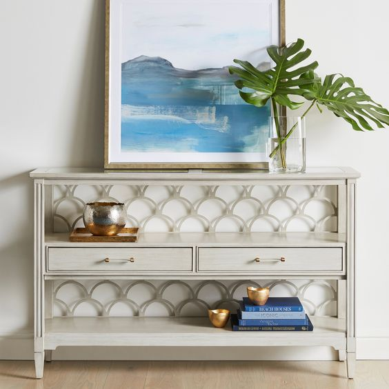 styling your console is the easiest idea to bring any feel to the space including a beach feel